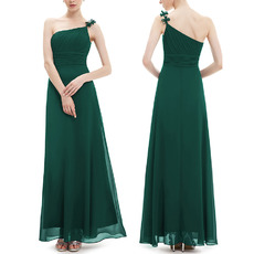 Elegant One Shoulder Spaghetti Straps Long Chiffon Bridesmaid Dresses