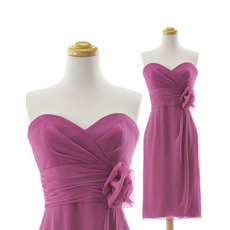 Custom Column Sweetheart Knee Length Chiffon Bridesmaid Dresses