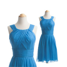 Vintage A-Line Short Sleeveless Chiffon Bridesmaid Dresses with Straps