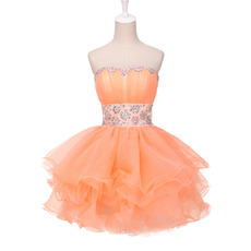 Sexy Ball Gown Sweetheart Short Organza Cocktail Party Dresses