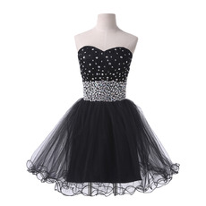 Affordable Ball Gown Sweetheart Short Black Cocktail Party Dresses