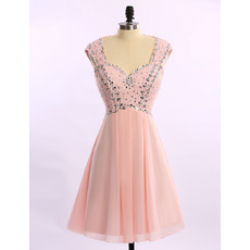 Elegant Sweetheart Short Chiffon Beading Cocktail Party Dresses