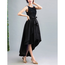 Affordable High-Low Satin Black Lace-Up Cocktail Party Dresses
