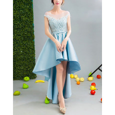 Sexy Cap Sleeves High-Low Satin Embroidery Cocktail Party Dresses