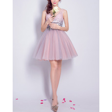 2017 New Style V-Neck Short Organza Sequin Cocktail Party Dresses