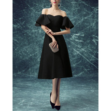 Discount Off-the-shoulder Bell Sleeves Black Cocktail Party Dresses