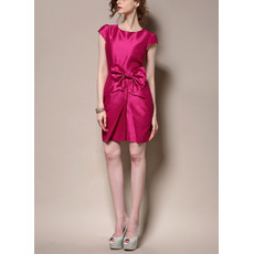 Discount Column Short Satin Cocktail Party Dresses with Cap Sleeves