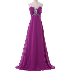 2017 Empire Sweetheart Floor Length Chiffon Evening/ Prom Dresses