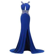 Custom Sheath Sweep Train Chiffon Split Evening/ Prom Dresses