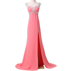 2018 New Style Sweetheart Sweep Train Chiffon Split Evening Dresses