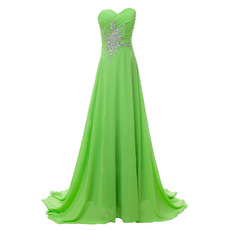 Custom A-Line Sweetheart Sweep Train Chiffon Rhinestone Evening Dress