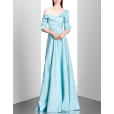 Discount Lapel Asymmetric Satin Evening Dresses with Half Sleeves