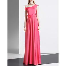 Elegant One Shoulder Asymmetric Floor Length Satin Evening Dresses