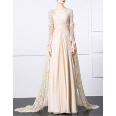 Custom Floor Length Chiffon Evening Dresses with Long Lace Sleeves
