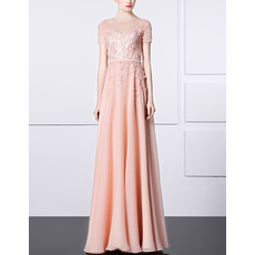 Affordable Chiffon Embroidery Evening Dresses with Short Sleeves