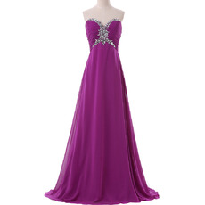 2017 New Sweetheart Empire Floor Length Chiffon Evening/ Prom Dresses