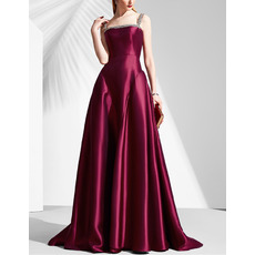 2018 New Ball Gown Floor Length Satin Evening Dresses with Straps