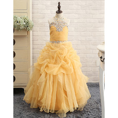 2018 Style Floor Length Organza Pick-Up Skirt Little Girls Party Dress