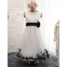 Custom Sleeveless Ankle Length Satin Flower Girl Dresses with Belts