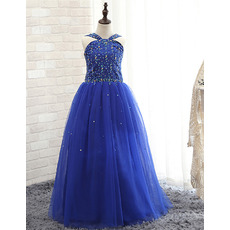 Discount Ball Gown Floor Length Sequin Little Girls Party Dresses