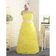Stunning Spaghetti Straps Floor Length Pick-Up Little Girls Party Dress