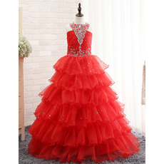 2018 New Floor Length Layered Sequin Skirt Little Girls Party Dresses