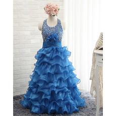 Custom Halter Rhinestone Layered Skirt Little Girls Party Dresses