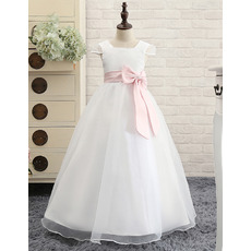 Adorable Floor Length First Communion Dress with Cap Sleeves and Sash