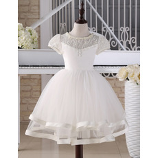 2018 Ball Gown Knee Length First Communion Dress with Short Sleeves