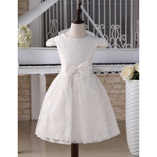 Custom Knee Length Lace First Communion Dresses with Cap Sleeves