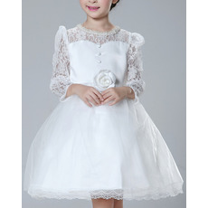 2018 Ball Gown Short First Communion Dresses with Long Lace Sleeves