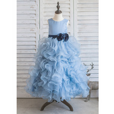 Affordable Long Ruffle Skirt Little Girls Party Dresses with Belts