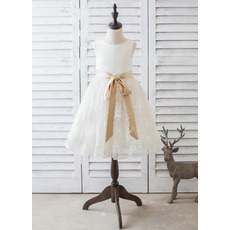 Custom Knee Length Lace Skirt Flower Girl Dresses with Sashes