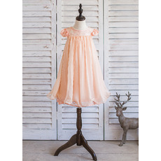 Inexpensive Short Sleeves Knee Length Chiffon Easter Little Girl Dress