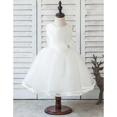 Custom Ball Gown Tea Length Organza Flower Girl/ First Communion Dress