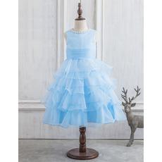Custom Ball Gown Tea Length Organza Layered Skirt Flower Girl Dresses