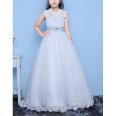 Stunning A-Line Floor Length Organza Flower Girl Dresses with Belts