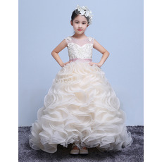 2018New Sweep Train Ruffle Skirt Flower Girl Dresses with Belts