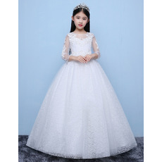 Custom Ball Gown Floor Length Lace Flower Girl Dress with Long Sleeves