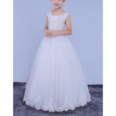 2018 New Style Ball Gown Floor Length Organza Flower Girl Dresses