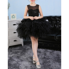 Custom Sleeveless Short Black Bubble Skirt Little Girls Party Dresses