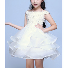 Discount A-Line Off-the-shoulder Short Organza Flower Girl Dresses