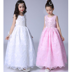 Stunning Ball Gown Ankle Length Satin Lace Flower Girl Dresses