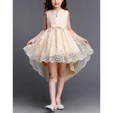 2018 Style High-Low Short Lace Little Girls Party Dresses with Bows