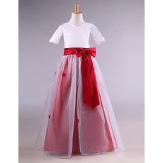 Custom Floor Length Flower Girl Dresses with Short Sleeves and Sashes