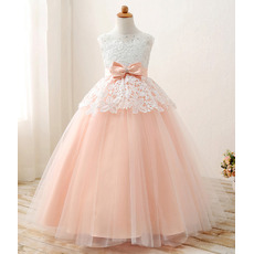 Stunning Ball Gown Long Lace Organza Satin Little Girls Party Dresses