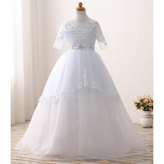 Custom Ball Gown Flower Girl/ First Communion Dress with Half Sleeves