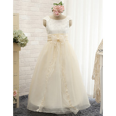Discount Floor Length Satin Organza Embroidery Flower Girl Dresses