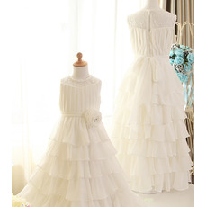 Cute Long Chiffon Layered Skirt Flower Girl/ First Communion Dresses