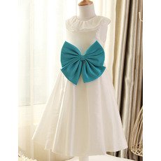 2018 Style Lapel Tea Length Taffeta Flower Girl Dresses with Bows